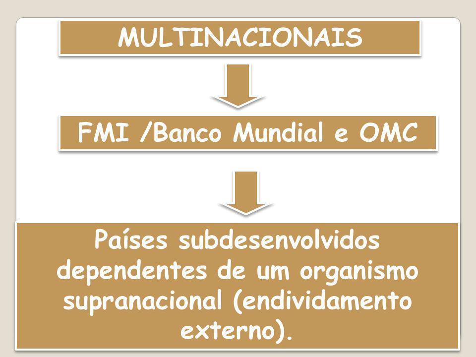 MULTINACIONAIS FMI /Banco Mundial e OMC Países subdesenvolvidos dependentes de um organismo supranacional (endividamento externo).