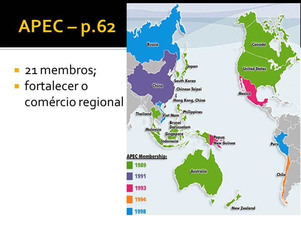 21 membros; fortalecer o comércio regional