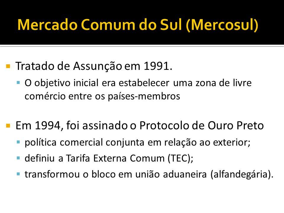 Tratado de Assunção em 1991. O objetivo inicial era estabelecer uma zona de livre comércio entre os países-membros Em 1994, foi assinado o Protocolo d