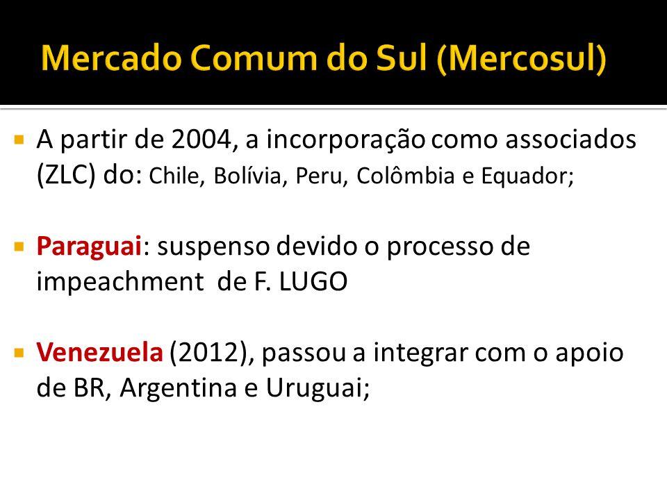 A partir de 2004, a incorporação como associados (ZLC) do: Chile, Bolívia, Peru, Colômbia e Equador; Paraguai: suspenso devido o processo de impeachme