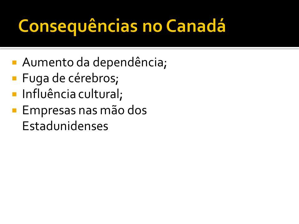 Aumento da dependência; Fuga de cérebros; Influência cultural; Empresas nas mão dos Estadunidenses