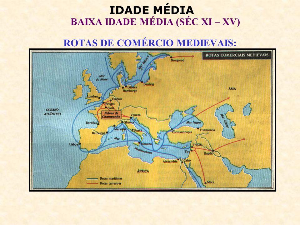 IDADE MÉDIA BAIXA IDADE MÉDIA (SÉC XI – XV) 4 – O RENASCIMENTO URBANO: Retomada do comércio impulsiona o renascimento urbano.