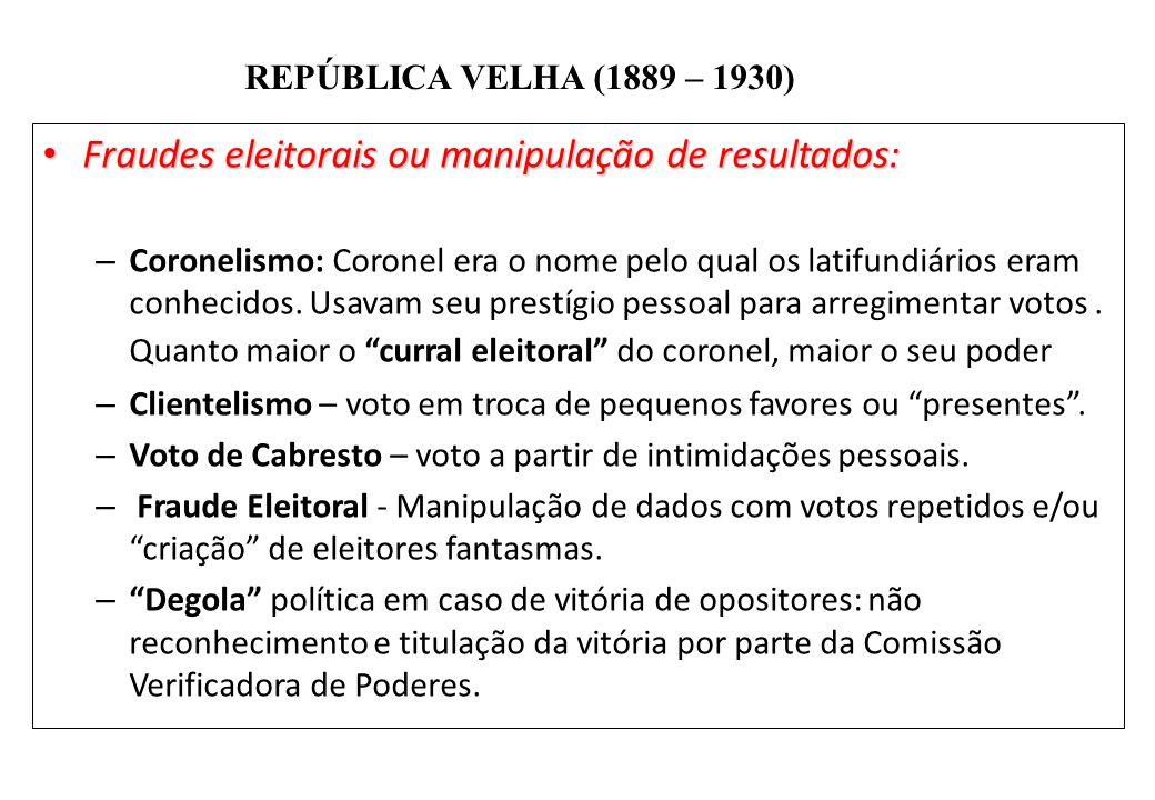 BRASIL REPÚBLICA (1889 – ) REPÚBLICA VELHA (1889 – 1930) Fraudes eleitorais ou manipulação de resultados: Fraudes eleitorais ou manipulação de resulta