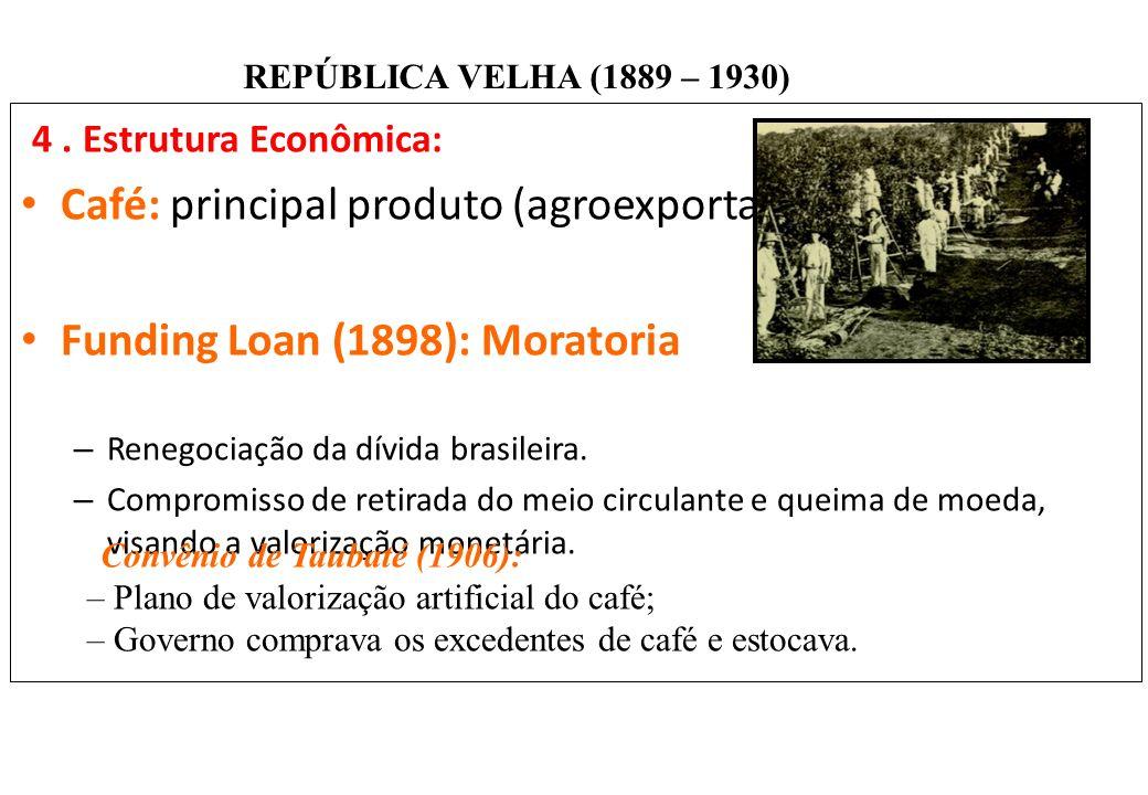 BRASIL REPÚBLICA (1889 – ) REPÚBLICA VELHA (1889 – 1930) 4. Estrutura Econômica: Café: principal produto (agroexportação). Funding Loan (1898): Morato