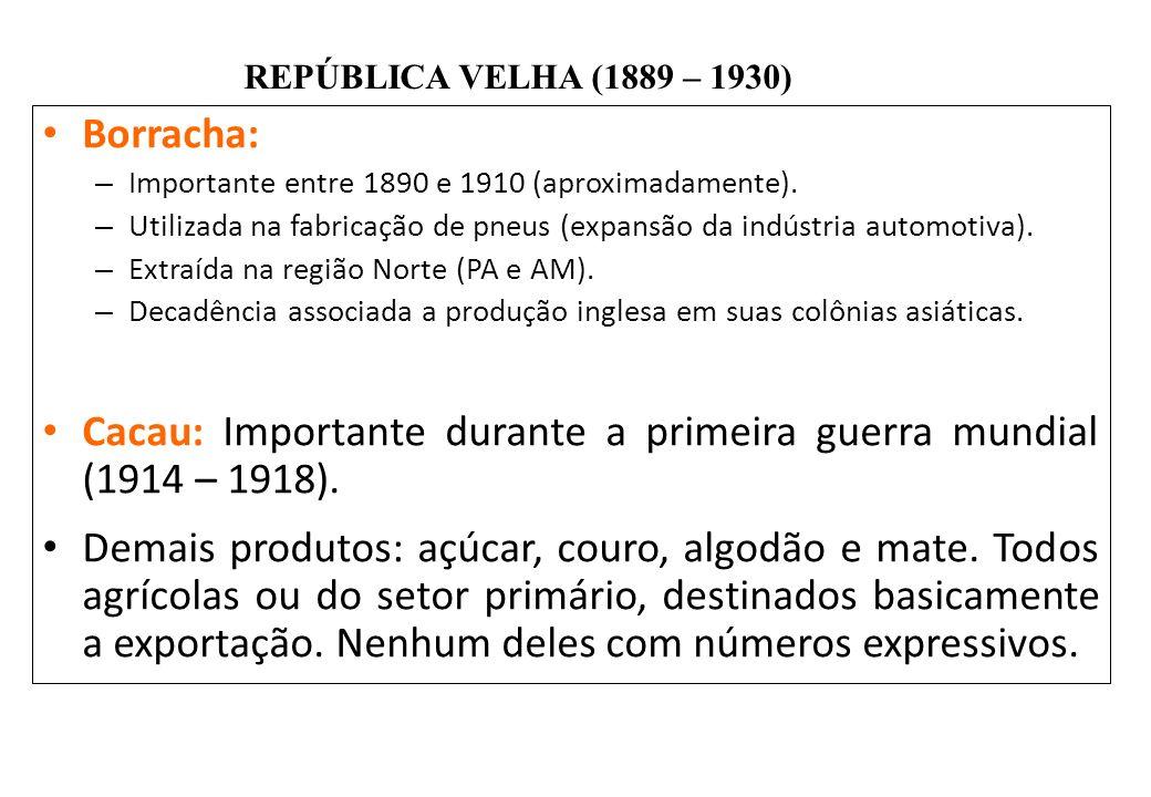 BRASIL REPÚBLICA (1889 – ) REPÚBLICA VELHA (1889 – 1930) Borracha: – Importante entre 1890 e 1910 (aproximadamente). – Utilizada na fabricação de pneu