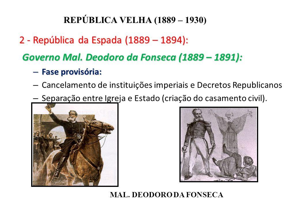 BRASIL REPÚBLICA (1889 – ) REPÚBLICA VELHA (1889 – 1930) 2 - República da Espada (1889 – 1894): Governo Mal. Deodoro da Fonseca (1889 – 1891): Governo