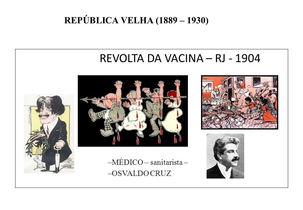 BRASIL REPÚBLICA (1889 – ) REPÚBLICA VELHA (1889 – 1930) REVOLTA DA VACINA – RJ - 1904 –MÉDICO – sanitarista – –OSVALDO CRUZ