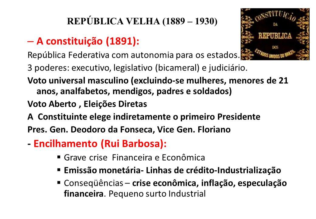 BRASIL REPÚBLICA (1889 – ) REPÚBLICA VELHA (1889 – 1930) – A constituição (1891): República Federativa com autonomia para os estados. 3 poderes: execu