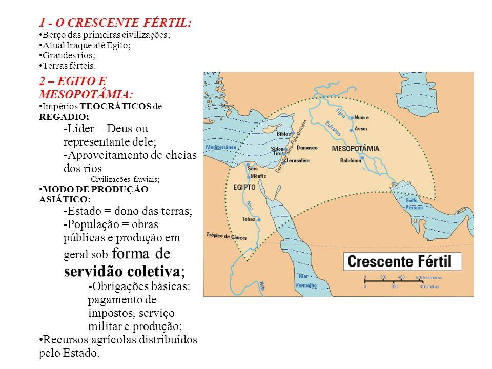 1 - O CRESCENTE FÉRTIL: Berço das primeiras civilizações; Atual Iraque até Egito; Grandes rios; Terras férteis. 2 – EGITO E MESOPOTÂMIA: Impérios TEOC