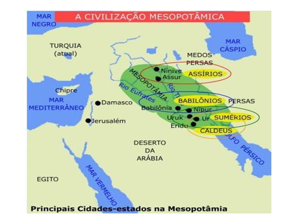POVOLÍDERCIDADE(S)CARACTERÍSTICAS SumériosPatesi (rei) Ur, Uruk, Nippur, Lagash Escrita cuneiforme; Zigurates AcádiosSargão IIdem aos sumériosUnificação; Amoritas ou Babilônicos HamurábiBabilôniaCódigo de Hamurábi AssíriosAssurbanipalAssur, NíniveViolência Caldeus Nabucodonossor Babilônia Conquistas territoriais; construções (Jardins Suspensos).