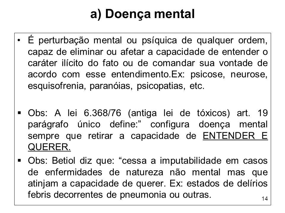 14 a) Doença mental É perturbação mental ou psíquica de qualquer ordem, capaz de eliminar ou afetar a capacidade de entender o caráter ilícito do fato