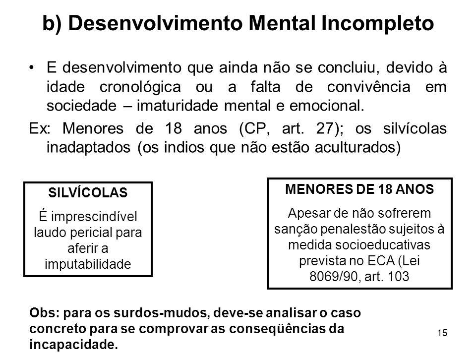 15 b) Desenvolvimento Mental Incompleto E desenvolvimento que ainda não se concluiu, devido à idade cronológica ou a falta de convivência em sociedade