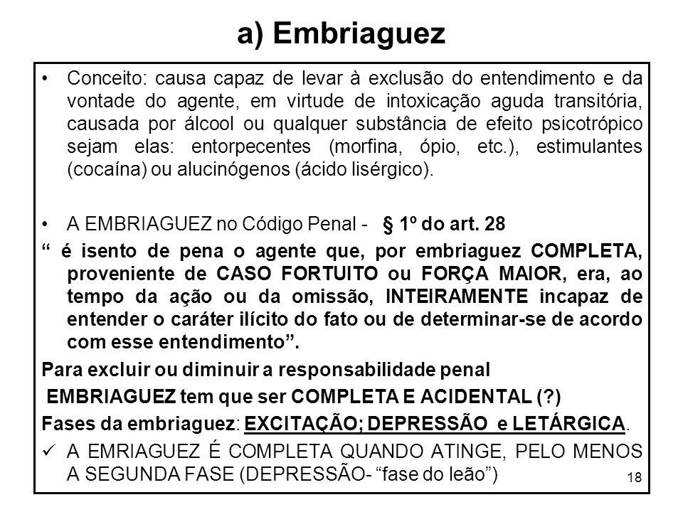 18 a) Embriaguez Conceito: causa capaz de levar à exclusão do entendimento e da vontade do agente, em virtude de intoxicação aguda transitória, causad