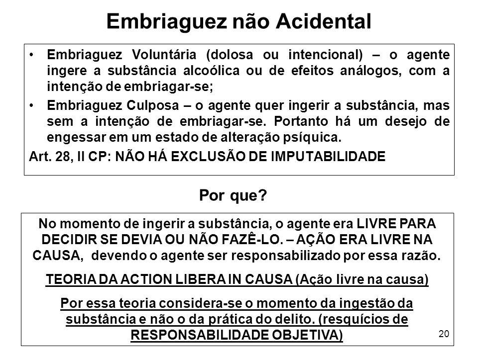 20 Embriaguez não Acidental Embriaguez Voluntária (dolosa ou intencional) – o agente ingere a substância alcoólica ou de efeitos análogos, com a inten