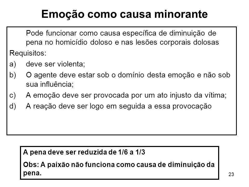 23 Emoção como causa minorante Pode funcionar como causa específica de diminuição de pena no homicídio doloso e nas lesões corporais dolosas Requisito