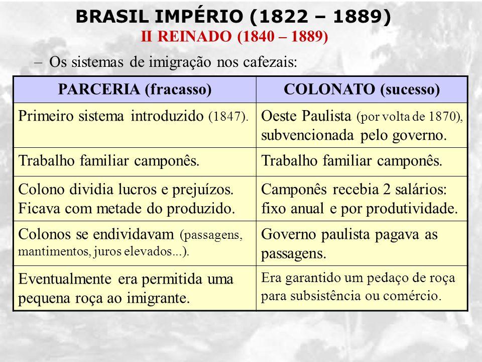 BRASIL IMPÉRIO (1822 – 1889) II REINADO (1840 – 1889) –Os sistemas de imigração nos cafezais: PARCERIA (fracasso)COLONATO (sucesso) Primeiro sistema i