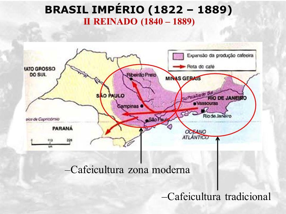 BRASIL IMPÉRIO (1822 – 1889) II REINADO (1840 – 1889) –Cafeicultura tradicional –Cafeicultura zona moderna
