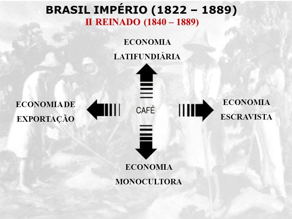 BRASIL IMPÉRIO (1822 – 1889) II REINADO (1840 – 1889) ECONOMIA DE EXPORTAÇÃO ECONOMIA MONOCULTORA ECONOMIA LATIFUNDIÁRIA ECONOMIA ESCRAVISTA