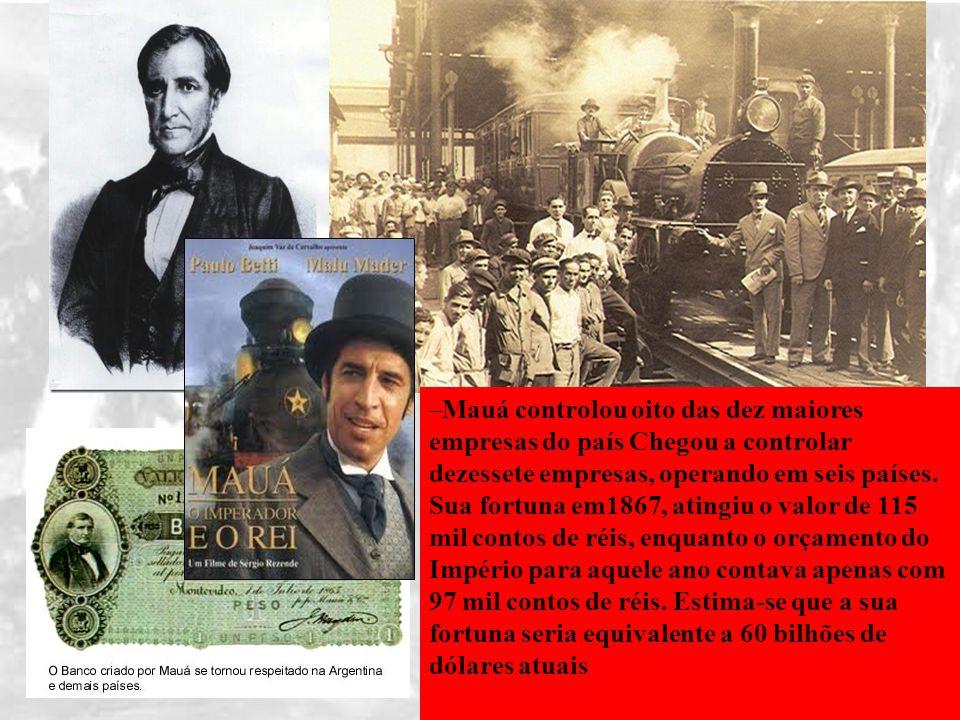 BRASIL IMPÉRIO (1822 – 1889) II REINADO (1840 – 1889) –Mauá controlou oito das dez maiores empresas do país Chegou a controlar dezessete empresas, ope