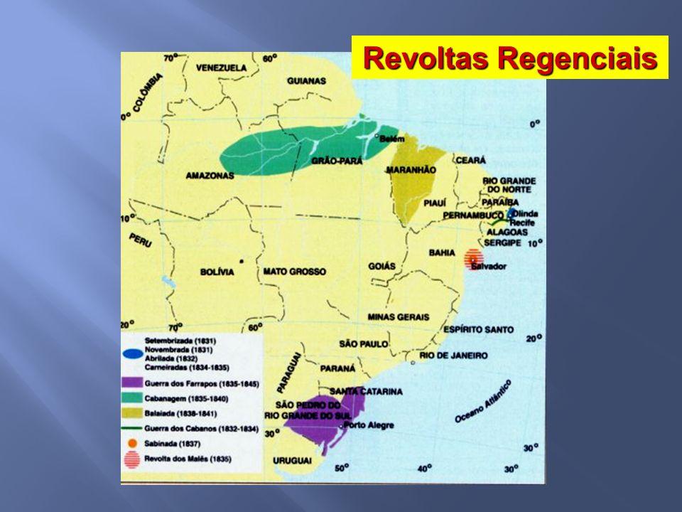 1831 Restauradores Liberais moderados Liberais exaltados Partido Conservador Partido Liberal 1840 Partido Português Partido Brasileiro Partido Conservador – defende uma maior centralização política Partido Liberal – defende uma maior autonomia política para as províncias