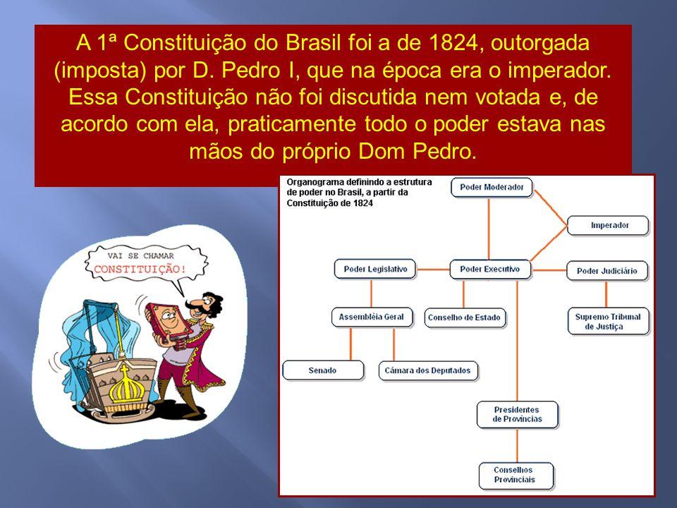 A 1ª Constituição do Brasil foi a de 1824, outorgada (imposta) por D.