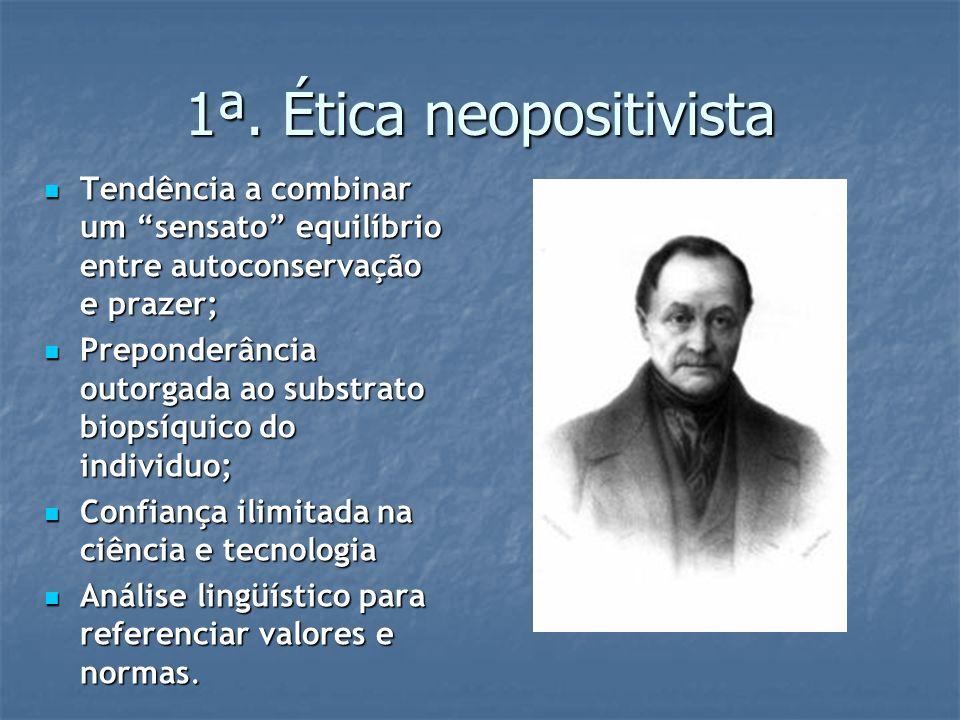 1ª. Ética neopositivista Tendência a combinar um sensato equilíbrio entre autoconservação e prazer; Tendência a combinar um sensato equilíbrio entre a