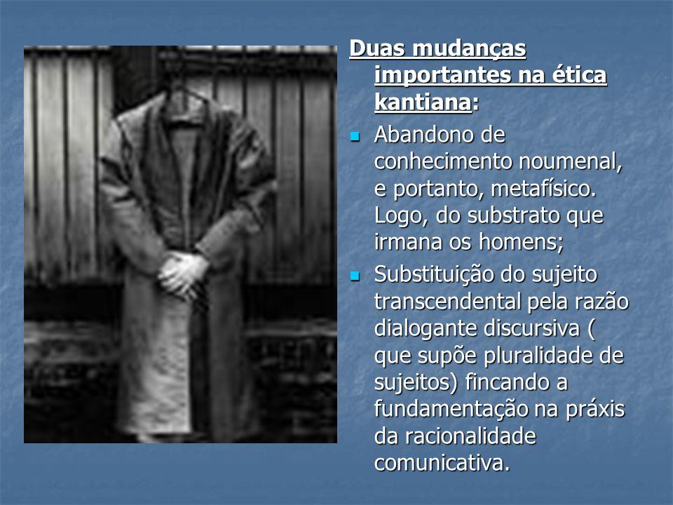 Duas mudanças importantes na ética kantiana: Abandono de conhecimento noumenal, e portanto, metafísico.