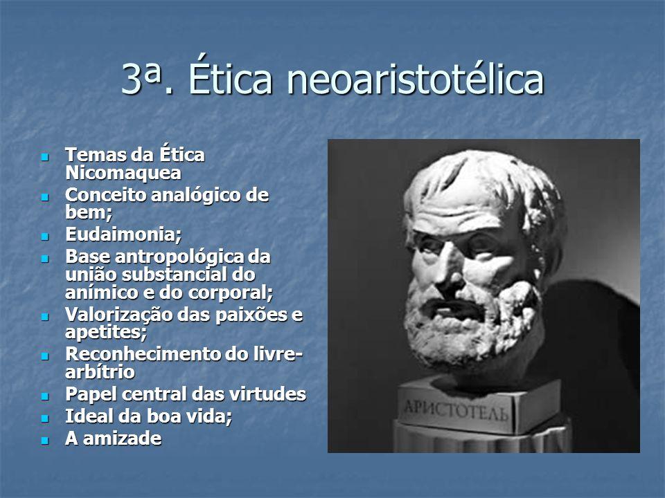 3ª. Ética neoaristotélica Temas da Ética Nicomaquea Temas da Ética Nicomaquea Conceito analógico de bem; Conceito analógico de bem; Eudaimonia; Eudaim