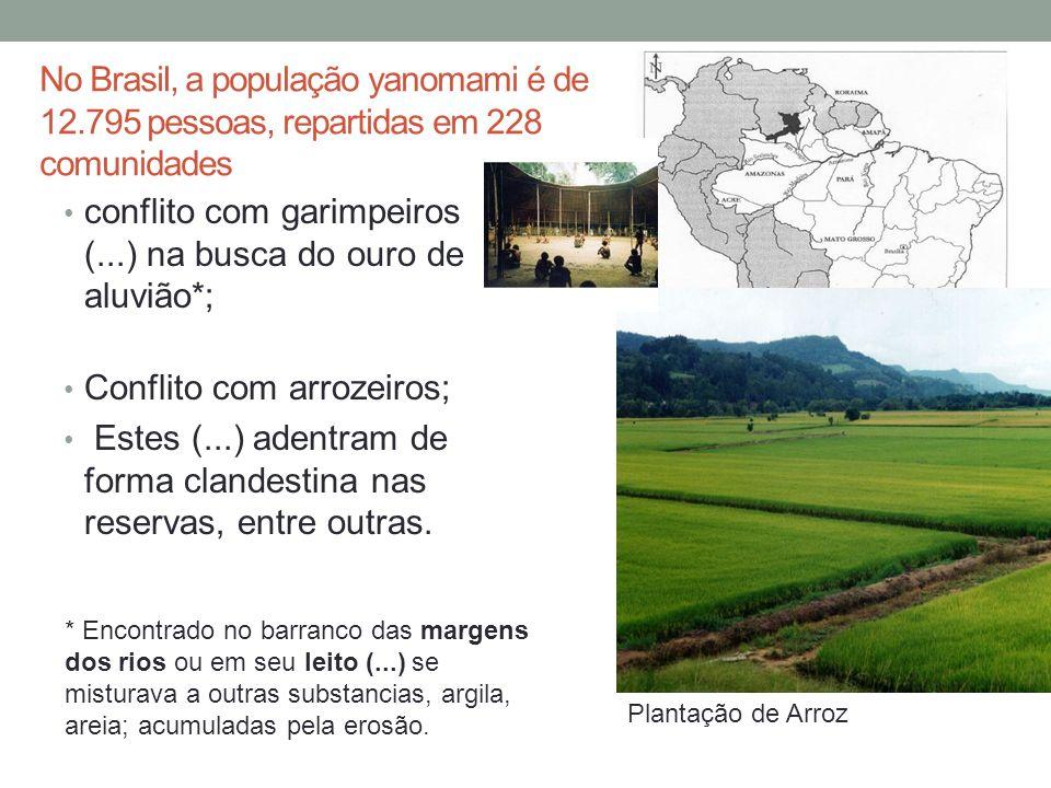 No Brasil, a população yanomami é de 12.795 pessoas, repartidas em 228 comunidades conflito com garimpeiros (...) na busca do ouro de aluvião*; Confli