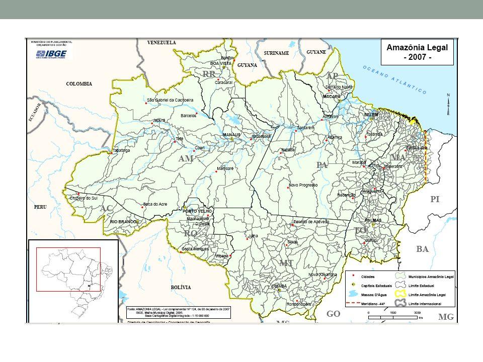 Amazônia legal superfície de 5.217.423 km2 / 61% do território brasileiro em torno de 20 milhões de habitantes Acre, Amapá, Amazonas, parte do Maranhão, Pará, Tocantins, Rondônia, Roraima e norte do Mato Grosso censo agropecuário de 1995/96: 450 mil estabelecimentos Propriedades familiares (93%) Propriedades patronais (7%)