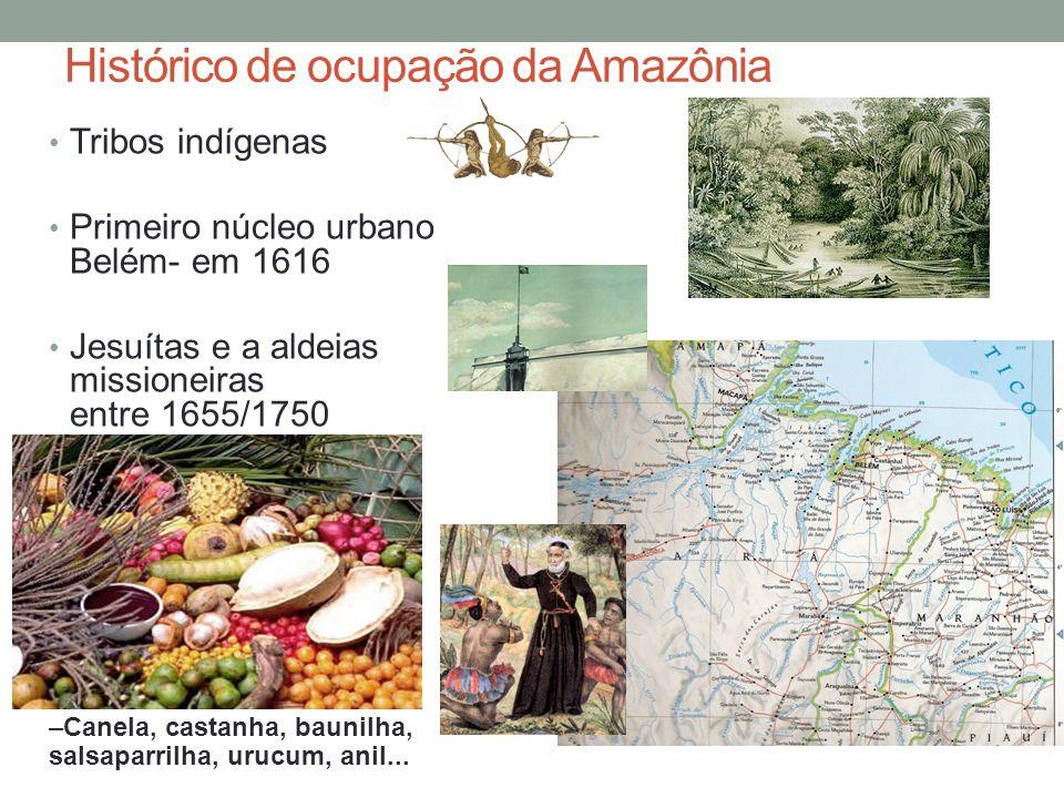 Histórico de ocupação da Amazônia Tribos indígenas Primeiro núcleo urbano Belém- em 1616 Jesuítas e a aldeias missioneiras entre 1655/1750 –Canela, ca