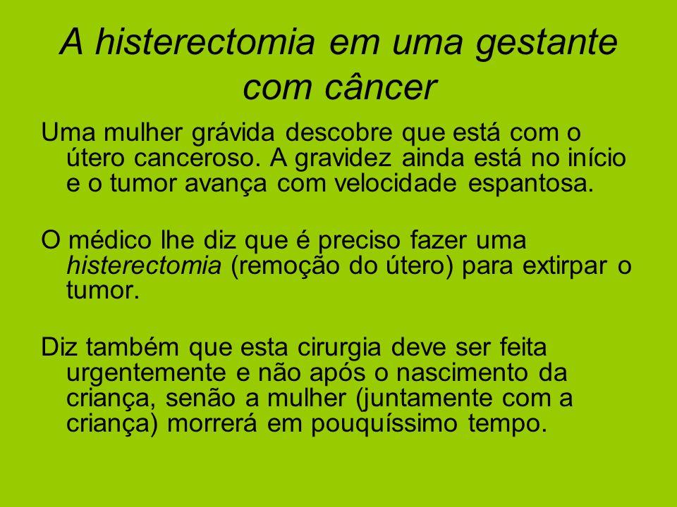 A histerectomia em uma gestante com câncer Uma mulher grávida descobre que está com o útero canceroso. A gravidez ainda está no início e o tumor avanç