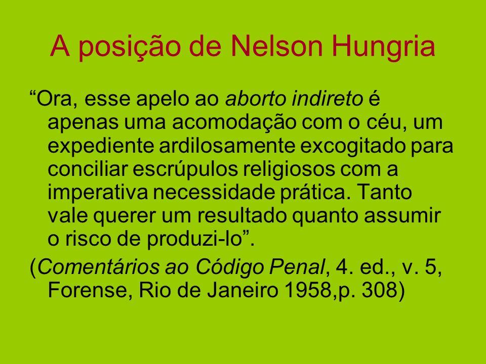 A posição de Nelson Hungria Ora, esse apelo ao aborto indireto é apenas uma acomodação com o céu, um expediente ardilosamente excogitado para concilia