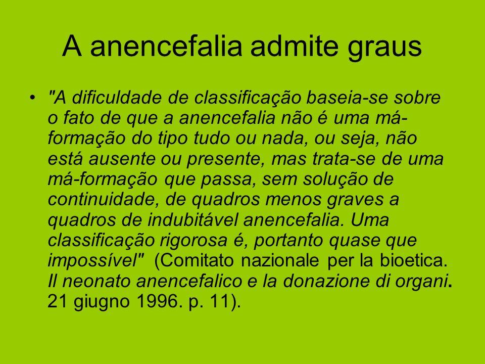 A anencefalia admite graus
