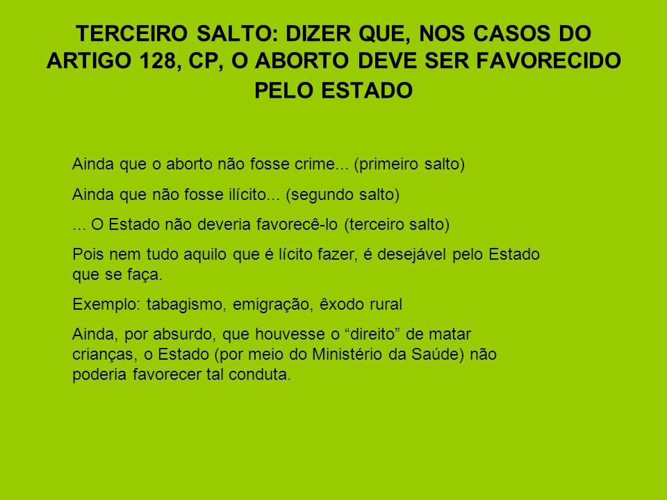 TERCEIRO SALTO: DIZER QUE, NOS CASOS DO ARTIGO 128, CP, O ABORTO DEVE SER FAVORECIDO PELO ESTADO Ainda que o aborto não fosse crime... (primeiro salto