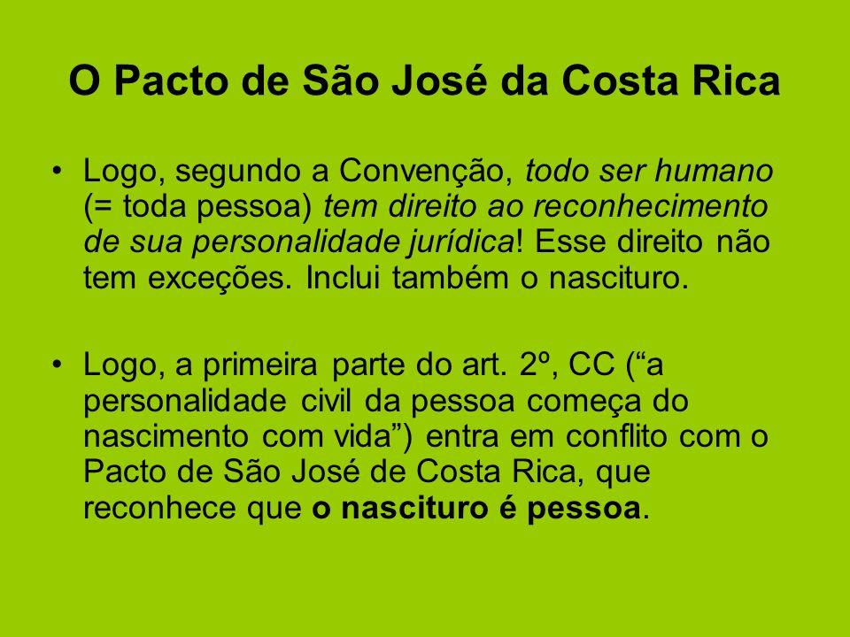 O Pacto de São José da Costa Rica Logo, segundo a Convenção, todo ser humano (= toda pessoa) tem direito ao reconhecimento de sua personalidade jurídi