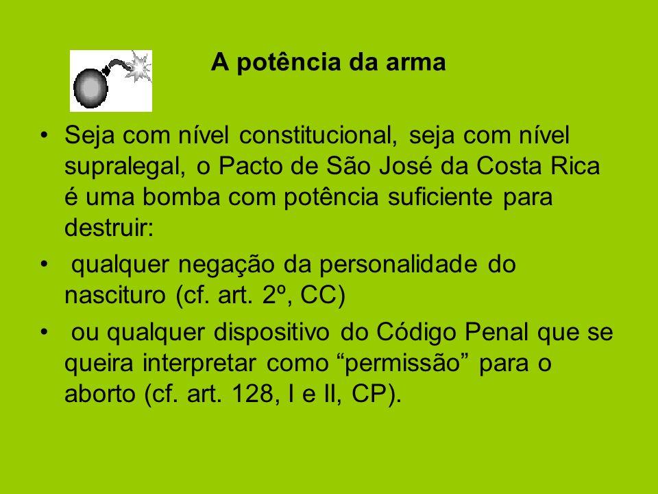 A potência da arma Seja com nível constitucional, seja com nível supralegal, o Pacto de São José da Costa Rica é uma bomba com potência suficiente par