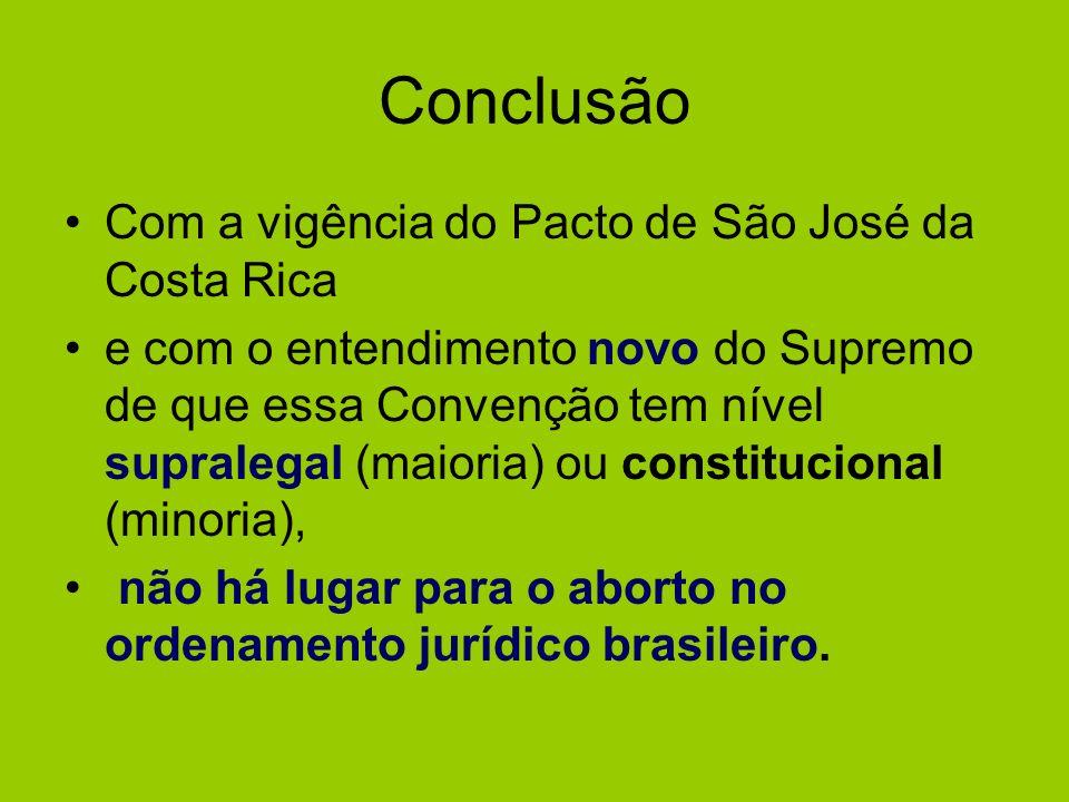 Conclusão Com a vigência do Pacto de São José da Costa Rica e com o entendimento novo do Supremo de que essa Convenção tem nível supralegal (maioria)