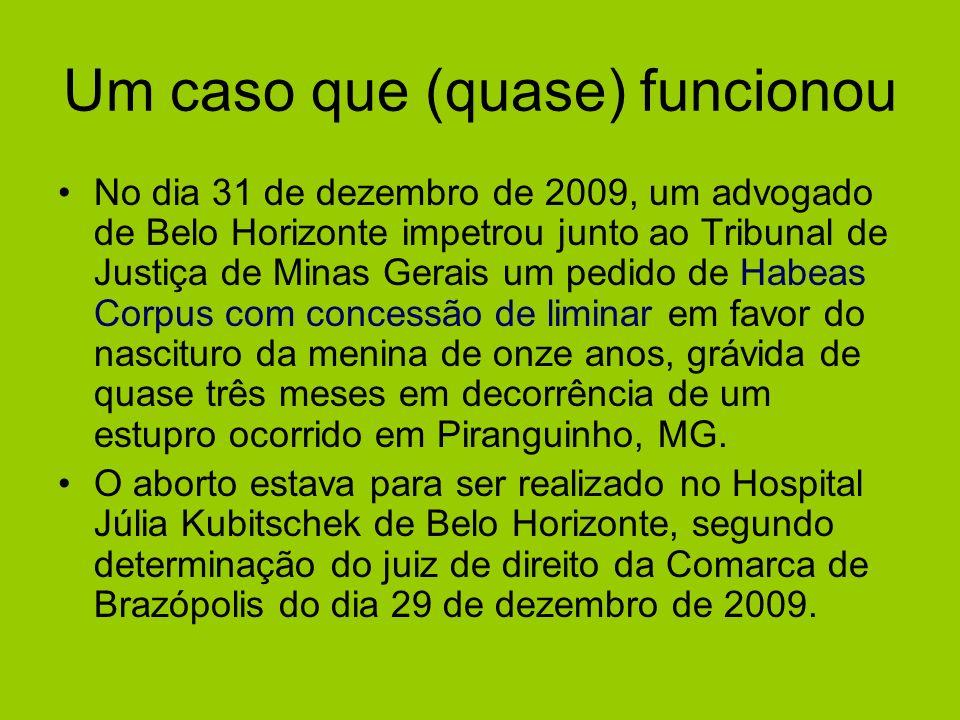 Um caso que (quase) funcionou No dia 31 de dezembro de 2009, um advogado de Belo Horizonte impetrou junto ao Tribunal de Justiça de Minas Gerais um pe