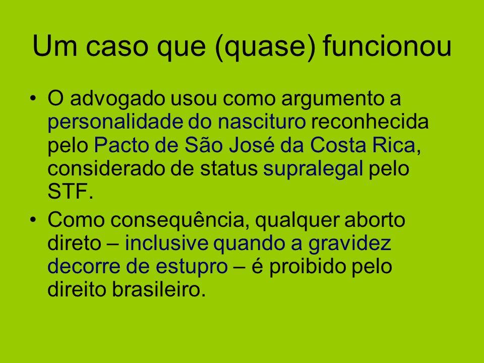 Um caso que (quase) funcionou O advogado usou como argumento a personalidade do nascituro reconhecida pelo Pacto de São José da Costa Rica, considerad