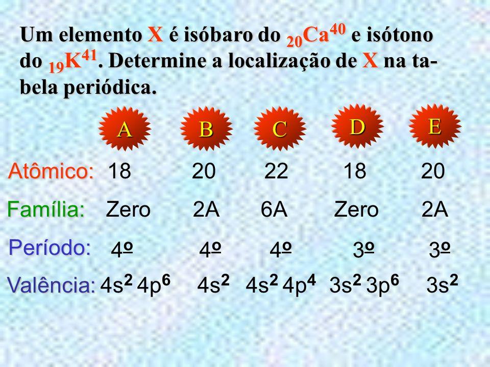 (EEM) O átomo do elemento químico X, locali- zado na família 6A e no 4 o período do sistema periódico, apresenta 45 nêutrons. Determine seu número de