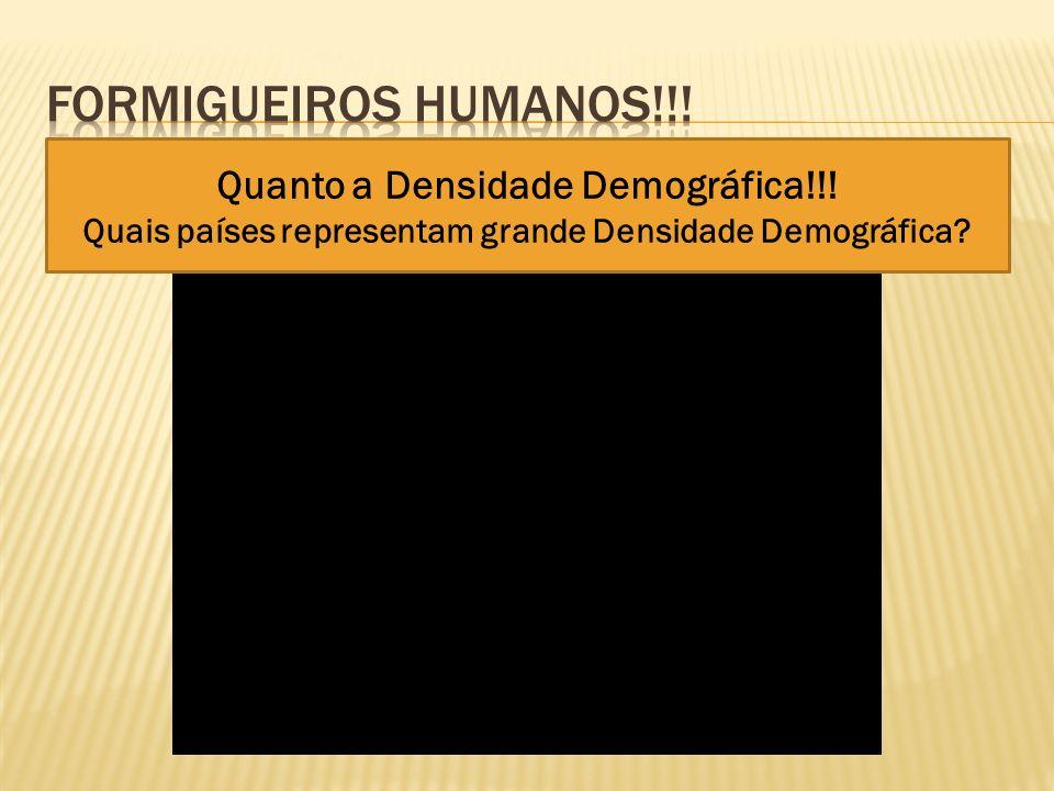 Quanto a Densidade Demográfica!!! Quais países representam grande Densidade Demográfica?