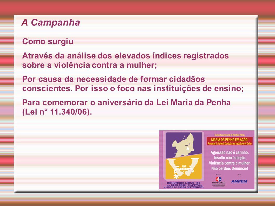 A Campanha Como surgiu Através da análise dos elevados índices registrados sobre a violência contra a mulher; Por causa da necessidade de formar cidadãos conscientes.