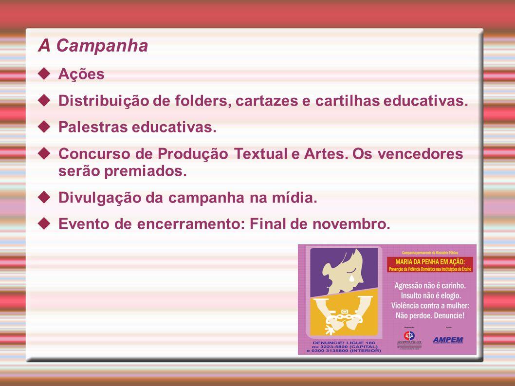 A Campanha Ações Distribuição de folders, cartazes e cartilhas educativas.