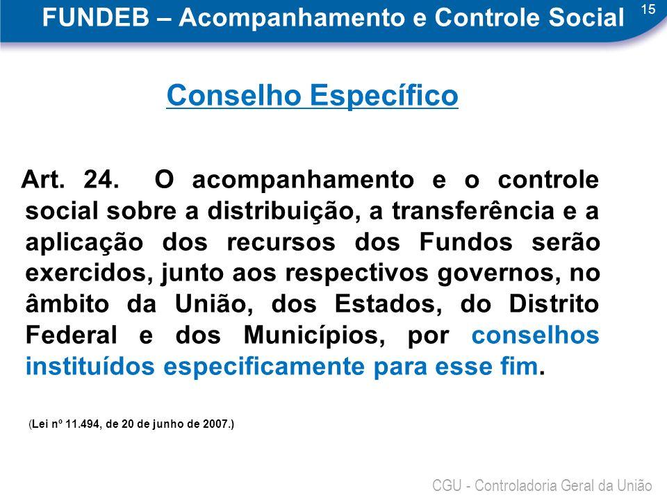 15 CGU - Controladoria Geral da União FUNDEB – Acompanhamento e Controle Social Conselho Específico Art. 24. O acompanhamento e o controle social sobr
