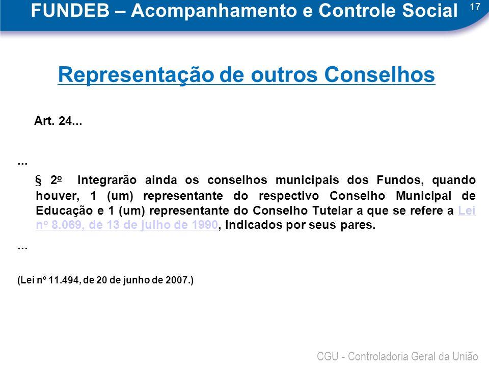 17 CGU - Controladoria Geral da União FUNDEB – Acompanhamento e Controle Social Representação de outros Conselhos Art. 24...... § 2 o Integrarão ainda