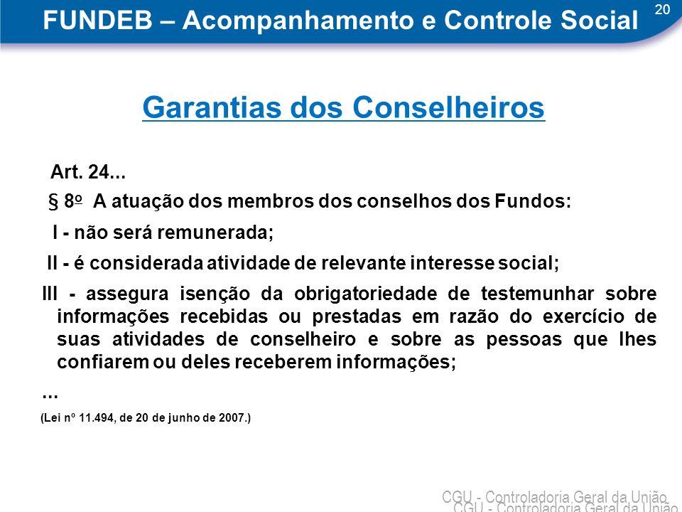 20 CGU - Controladoria Geral da União FUNDEB – Acompanhamento e Controle Social Garantias dos Conselheiros Art. 24... § 8 o A atuação dos membros dos