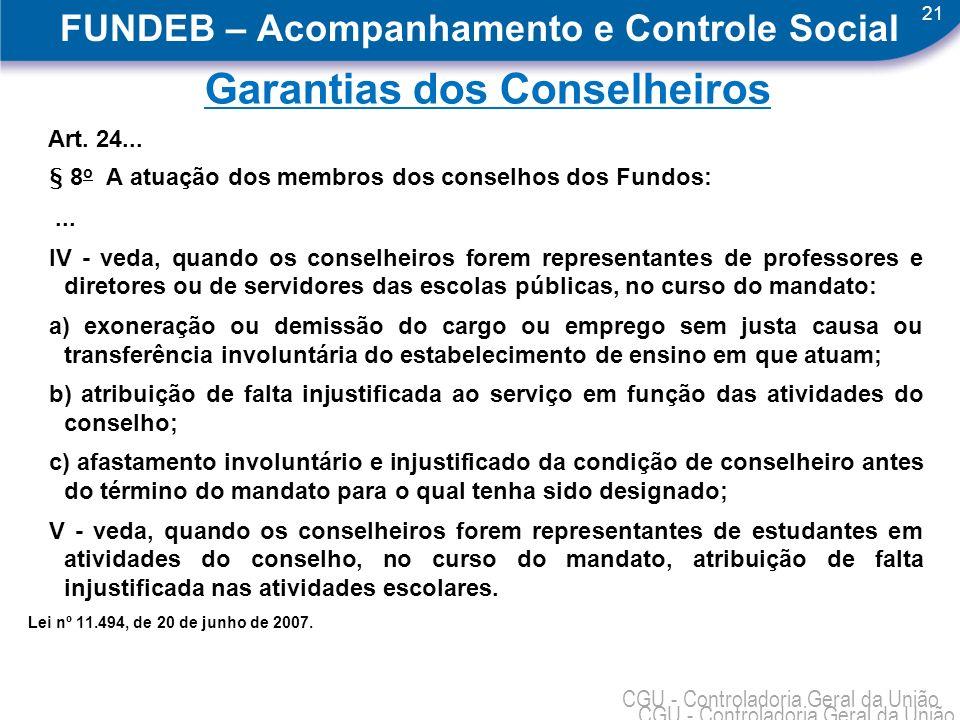 21 CGU - Controladoria Geral da União FUNDEB – Acompanhamento e Controle Social Garantias dos Conselheiros Art. 24... § 8 o A atuação dos membros dos