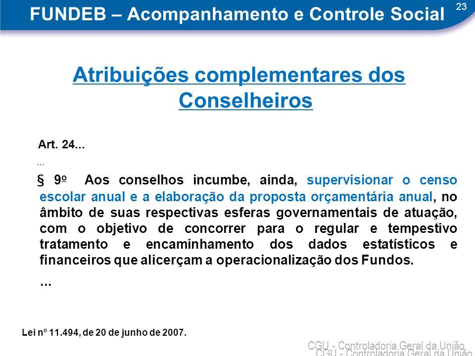 23 CGU - Controladoria Geral da União FUNDEB – Acompanhamento e Controle Social Atribuições complementares dos Conselheiros Art.