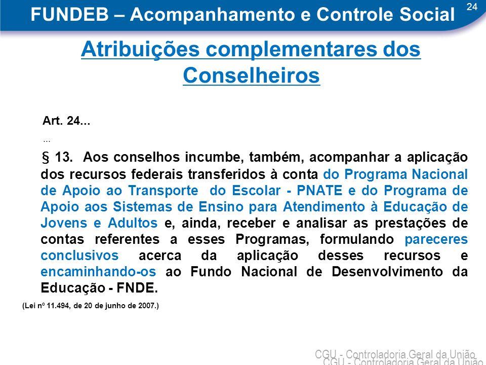 24 CGU - Controladoria Geral da União FUNDEB – Acompanhamento e Controle Social Atribuições complementares dos Conselheiros Art.